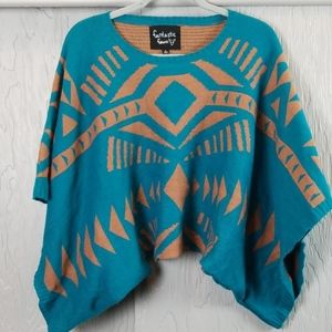 FANTASTIC FAWN southwestern tan and teal poncho